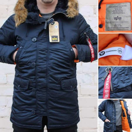 Мужская зимняя куртка парка Alpha Industries N-3B Slim-Fit Parka Coat with Removable Faux-Fur Hood Trim